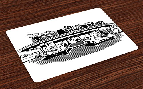 Retro Place Mats Set of 4 by Ambesonne, Nostalgic Illustration of Retro Diner Restaurant with Vintage Cars Back in Fifties, Washable Placemats for Dining Room Kitchen Table Decoration, Black White - 50s Diner Table