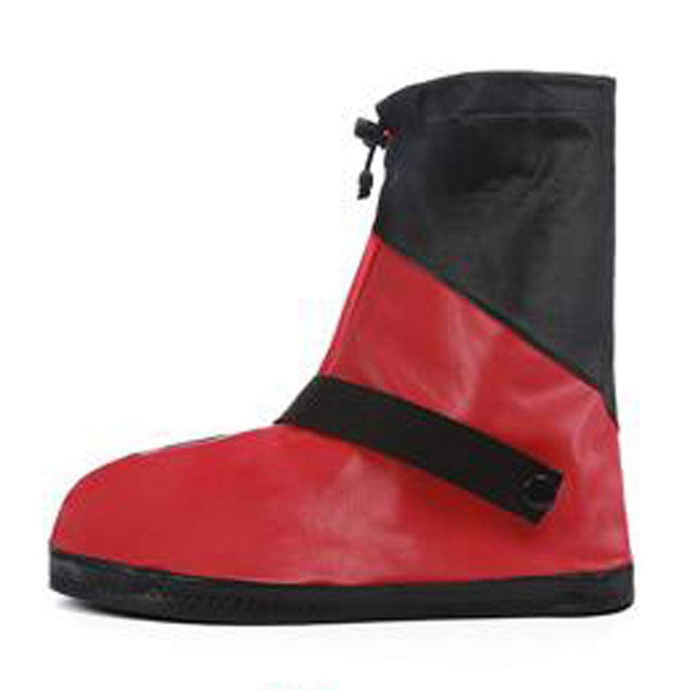 WUZHONGDIAN Shoe Cover, Waterproof Boots and Wearable Shoe Covers, Reusable Non-Slip Rain and Snow Shoe Covers Outdoor Waterproof and Dustproof Shoe Covers (Color : Red+Black, Size : M) by WUZHONGDIAN