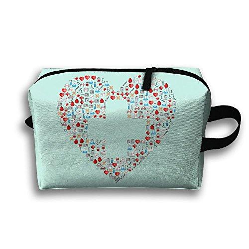 Medical Treatment Heart Shaped Travel Pouch Hangbag Makeup Portable Women Cosmetic - Soft Pouch Sunglasses Pu Zipper