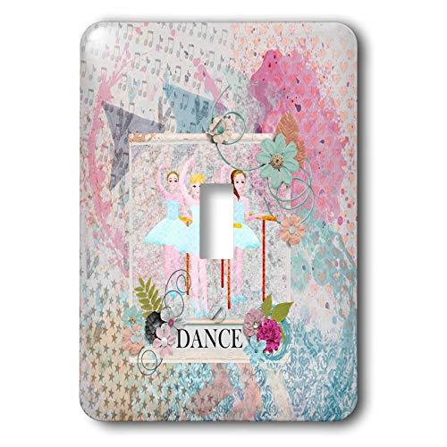 3dRose Beverly Turner Ballerina Design - Ballerina Dancers, Flower Dance Frame, Pastel Abstract Design - Light Switch Covers - single toggle switch - Beverly Ballerina