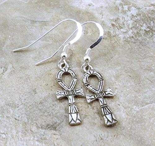 Pewter ANKH Charms on Sterling Silver Ear Wire Dangle Earrings - 5425 for Jewelry Making Bracelet Necklace DIY Crafts