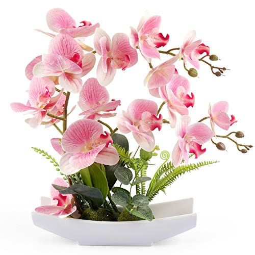 YOBANSA Decorative Real Touch Silk Orchid Bonsai Artificial Flowers with Imitation Porcelain Flower Pots Phalaenopsis Fake Flowers Arrangements for Home Decoration (New Pink 1) (Arrangements Orchid Large)