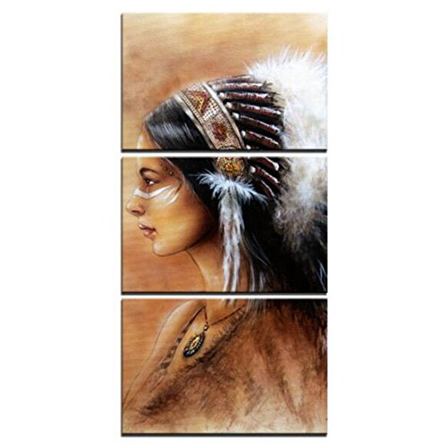 3 Pieces Vertical Native American Indians Wall Art Picture Girl Feathered Oil Painting Canvas Artworks Poster Print Wall Picture Home Living Room Wall Decor