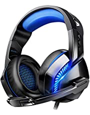 Gaming Headset for PS4 PC Xbox One, Noise Canceling Headphones with Mic Volume Controller Led Lights for Nintendo Switch Laptop Mac (Free Adapter)
