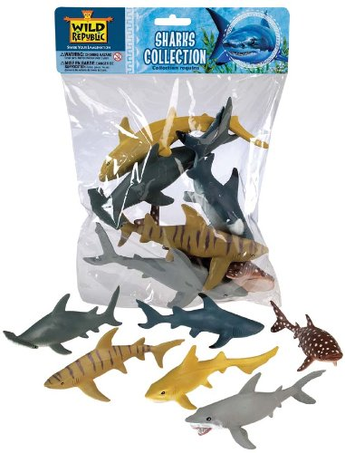 Wild Republic Shark Polybag, Educational Toys, Kids Gifts, Aquatic, Zoo Animals, Shark Toys, 6-Pieces
