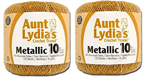 Aunt Lydia's Crochet Cotton Metallic Crochet Thread Size 10 (2 - Pack) (Gold/Gold) ()