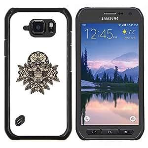 Cráneo floral minimalista Muerte Blanca Roca- Metal de aluminio y de plástico duro Caja del teléfono - Negro - Samsung Galaxy S6 active / SM-G890 (NOT S6)