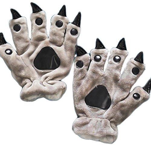 Kids Teen Adult Plush Animal Costume Paw Claw Hand Gloves Halloween Cosplay Christmas Gift Gray