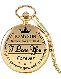 "Gold Pocket Watch,""to My Son, I Love You Forever"" Engraved Pocket Watch, Quartz Full Hunter Pocket Watch for Boys with Chain Personalized Gifts Steampunk Clock"