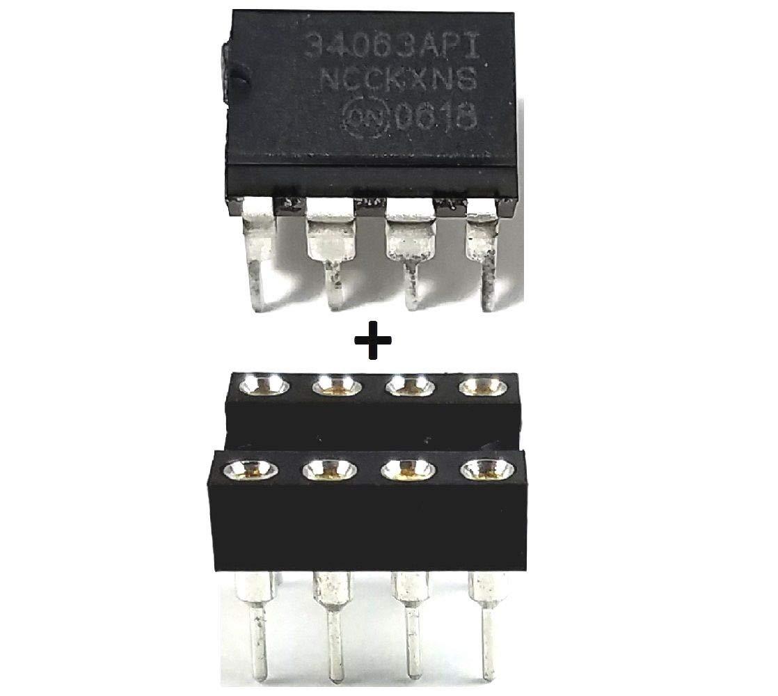 ON Semiconductor MC34063A MC34063 + Socket Buck Boost Inverting Regulator (Pack of 20)