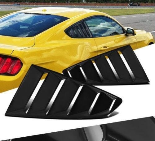 Window Side Mustang Louvers (Quarter Side Window Louvers Cover in Matte Black for 2015 2016 2017 2018 Ford Mustang - Set)