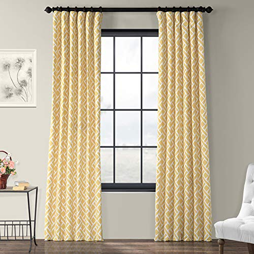PRCT-D07A-108 Martinique Printed Cotton Curtain,Yellow,50 X 108 (Yellow Curtains Printed)