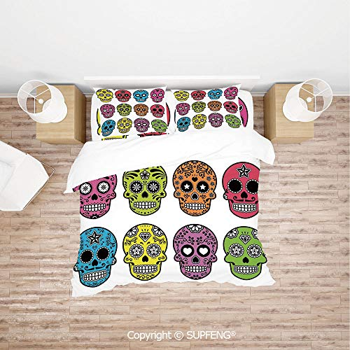 SCOXIXI 4 Piece Bedding Ornate Colorful Traditional Mexian Halloween Skull Icons Dead Humor Folk Art Print (Comforter Not Included) Soft, Breathable, Hypoallergenic, Fade Resistant -