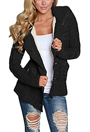 Annflat Women's Hooded Cable Knit Button Down Cardigan Fleece ...