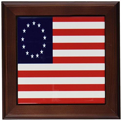 3dRose ft_50163_1 13 Colonies Betsy Ross Flag-Framed Tile Artwork, 8 by ()