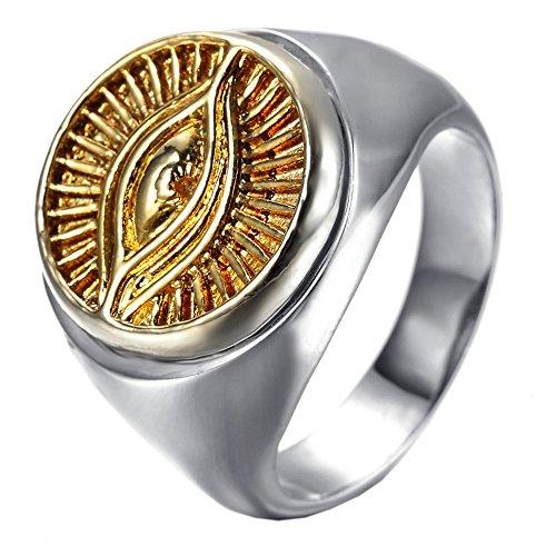Stainless Steel Fashion Men's Rings Eye Evil Gold Silver - 1