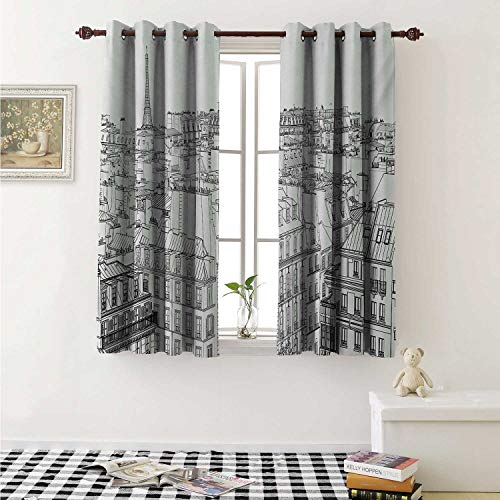 shenglv Paris Decorative Curtains for Living Room Architecture Theme Design Illustration of Roofs in Paris and Eiffel Tower Print Curtains Kids Room W72 x L72 Inch Black and White ()