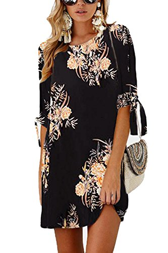 Minipeach Womens Summer Round Neck Printed Casual Mini Dress