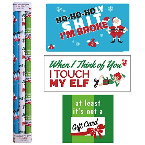 Snarky Wraps – Funny Holiday Xmas Gift Wrap Paper for Adults – 30″ x 120″ -Three Rolls- 10 feet Continuous roll.