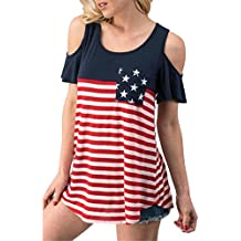Londony HOT! New Season Tops, Women's American Flag Tops Short Sleeve Cold Shoulder Casual Blouse T-Shirt (Multicolor 2❤️, L)
