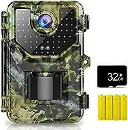 Cámara de senderismo de 1080P de 16 MP, cámara de caza con movimiento de gran angular de 120° con sensor de vi