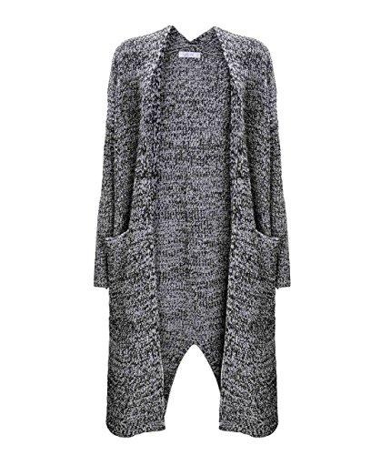 ZLYC Women Chunky Textured Yarn Maxi Pockets Cardigan Knitted Longline Coatigan Gray
