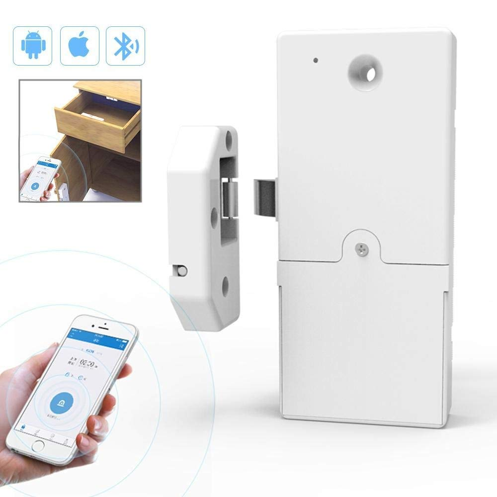 KOBWA Keyless Cabinet Smart Lock, Wireless Bluetooth Invisible Anti-Theft Free Punch Security Lock and Remotely Share Access, Low Battery Automatic Alarm & Easy Installation Control Via IOS/Android