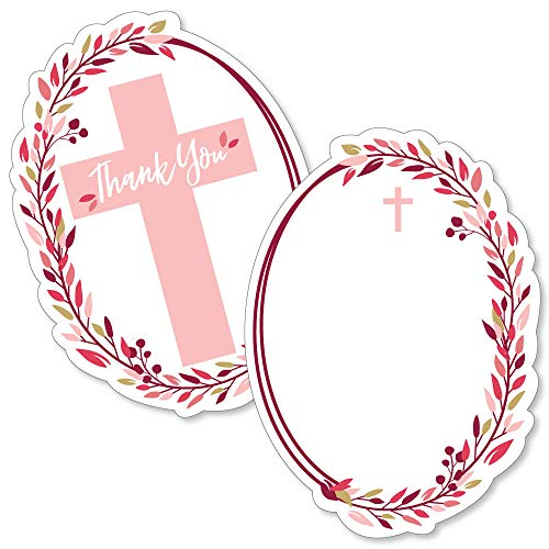 Pink Elegant Cross - Shaped Thank You Cards - Girl Religious Party Thank You Note Cards with Envelopes - Set of 12 (Pink Confirmation Note Cards)