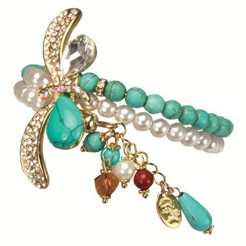 Dangling Turquoise Bracelet (Crystal Faux Turquoise Dragonfly Dangling Drop Faux Pearl Turquoise Wrap Bracelet)