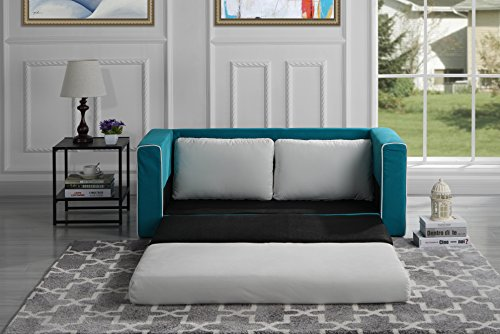 Divano Roma Furniture Modern 2 Tone Modular/Convertible Sleeper (Blue/Beige)