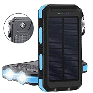 Solar Charger, Tagital Solar Power Bank 12000mAh External Backup Battery Pack Dual USB Solar Panel Charger with 2 LED Light Carabiner Compass Portable ...