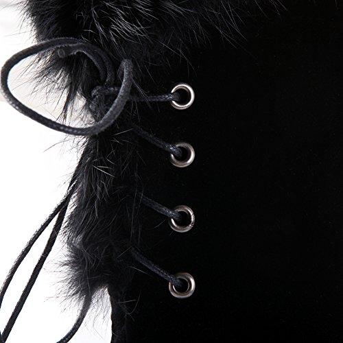 Fausse Fourrure Longues Noir Femmes Chaud Dentellets De Bigtree Bottes Compensées Genou Hiver Augmenté Plateforme xwaXUqH