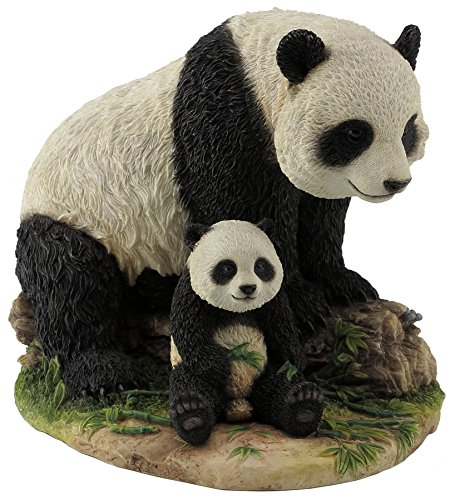 8 Inch Animal Figurine Sitting Panda Bear and Cub Collectible Display ()