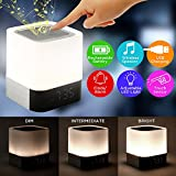 Oct17 Night Light Bluetooth Speaker, Alarm Clock, Portable Wireless Speaker with Lights, Touch Sensor Dimmable LED Table Lamp , Smart Touch LED Mood Lamp, MP3 Music Player, for Party, Bedroom, Outdoor