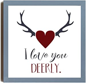 EricauBird I Love You Deerly Wood Sign, Rustic Wedding Decor Sign, Decorative Home Wall Art, Framed Sign for Home Wedding Party Farmhouse, Personalized Housewarming Gift, 12x12