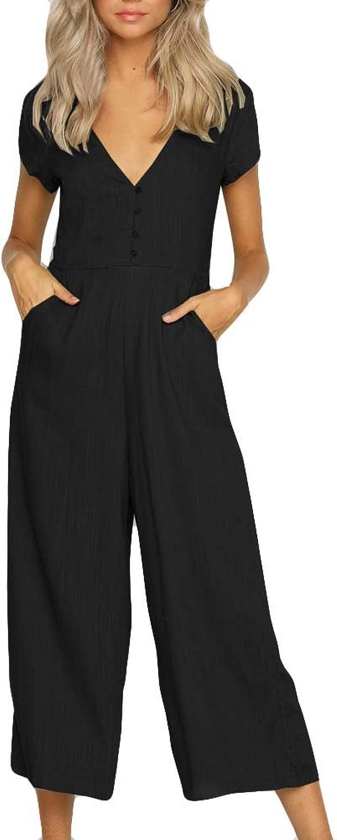 Amazon.com: Jumpsuits - Pantalón de manga corta para mujer ...