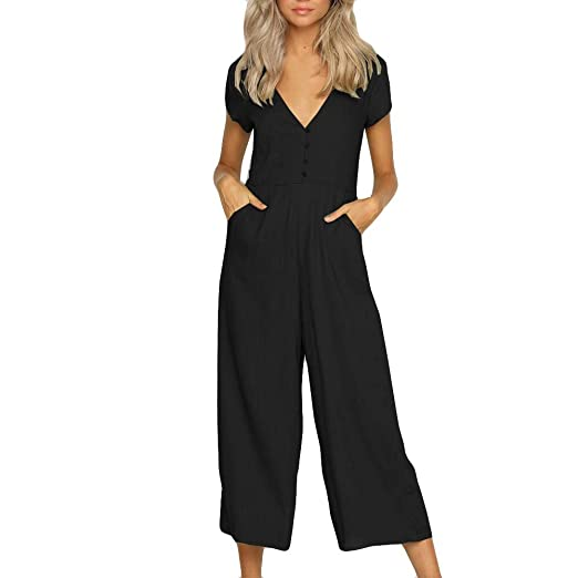 cb87de9b7044 2019 New Womens V Neck Jumpsuit Summer Short Sleeve Wide Leg Pant Clubwear  Playsuit Clubwear Rompers