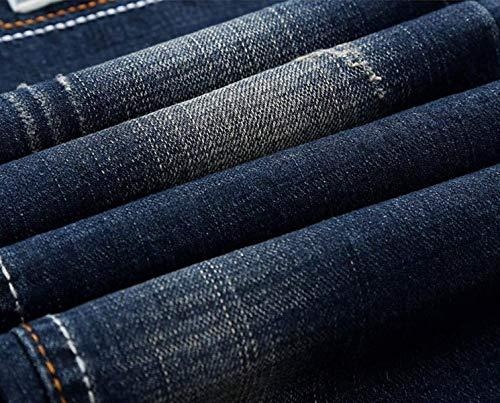 Slim A Elasticizzati Senza Uomo Haidean Cintura Casual Jeans Media Blu Dritti Vita Moderna Pantaloni Strappati Da xTWfqvwOXa