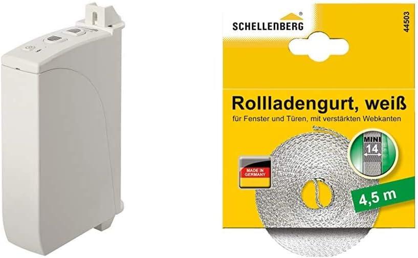 mit Zeitautomatik /& 44503 Rollladengurt 14 mm x 4,5 m Zugkraft 12 kg Schellenberg 22735 Elektrischer Gurtwickler Aufputz RolloDrive 35 bis 4 m/² Rollladenfl/äche f/ür 14 bis 15 mm Gurtbreite