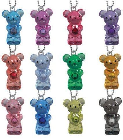 Mini Birthstone Bears Set of 12 Crystal Party Favors Complete with Key chains (1.25 inch Height)