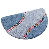 Exttlliy Superfine Fiber Half Round Mat Floor Rug Doormat with Colorful Floral for Bedroom Playroom Toilet (Large, Light Blue)