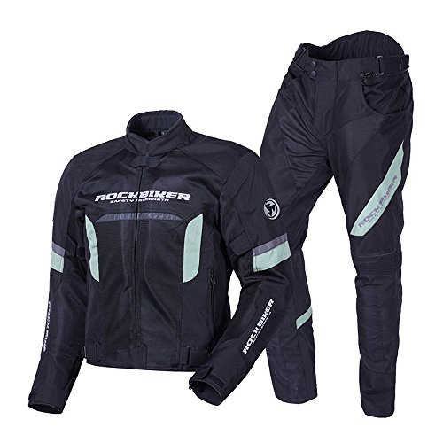 Men's Motorcycle Jacket +Protector Motorcycle Pants Set Breathable Racing Suit Protective Gear Armor(RB01 L, GRAY)