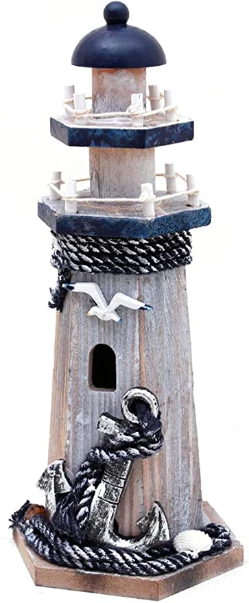 Amazon Com Wooden Lighthouse Decor 10 25inch Decorative Nautical Lighthouse Rustic Ocean Sea Beach Themed Lighthouse Decoration Handcrafted Tabletop Nautical Themed Home Decor Bathroom Decor Seabird Anchor Everything Else