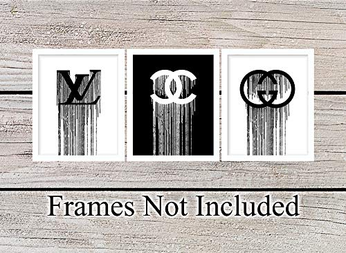 (Designer Logo Unframed Wall Art Prints - Set of 3 - Makes a Great Gift for Fashion Lovers and Designers - Modern Chic Home Decor - Ready to Frame (8x10) Vintage Photos - Gucci, Chanel, Louis Vuitton)