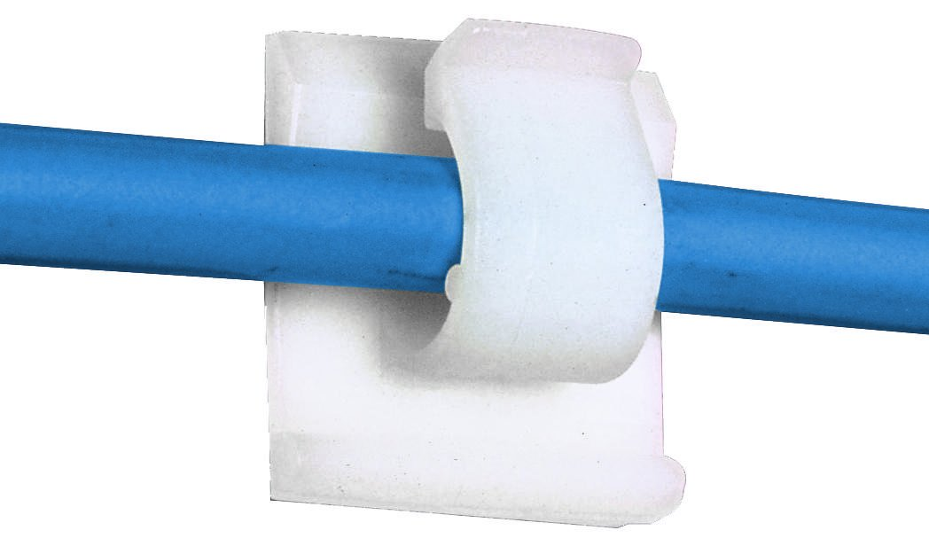 ACC62-A-C - Fastener, Cord Clip, Adhesive Backed Cable Clamp, 15.7 mm, Nylon 6.6 (Polyamide 6.6), Natural (ACC62-A-C)