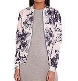 HHei_k Woman Lady Fashion Cycling Celeb Camo Floral Print Zip Up Bomber Jacket (XL)