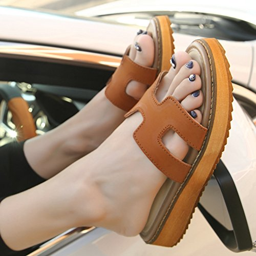 Womens Flats Slides Fashion Bottom Beach JULY Slide Sandals Thick Ladies T Brown Slippers Summer 5Ywpqn0