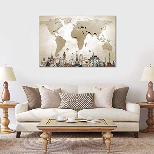 World Map Monuments Canvas Wall Art - Ready to Hang - Large Wonders of The World Artwork Hanging Print for Home Office, Living Room, Bedroom, Kitchen, Bathroom - Made in USA - 1 Piece 45
