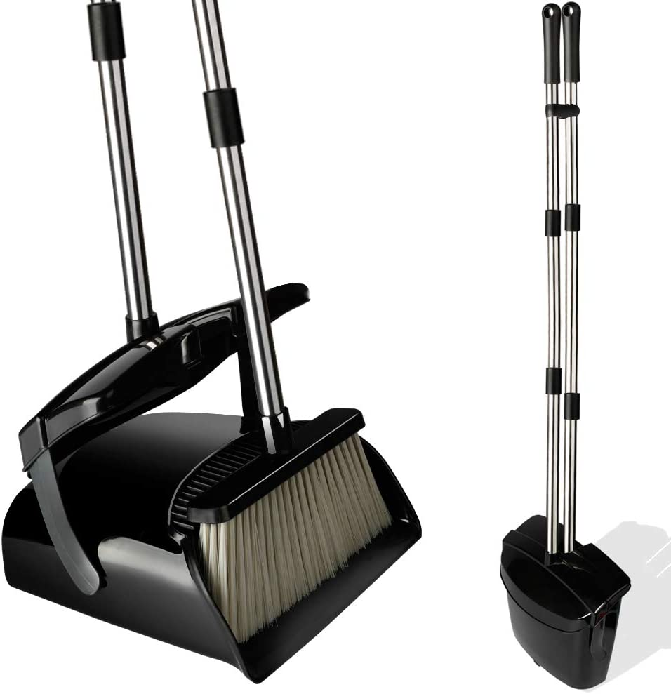 Broom and Dustpan Set with Lid, Stainless Steel Long Handle and Light Weight Lobby Broom Combo, Upright Dust Pan Ideal for Home, Kitchen, Room, Office Use by QJQBMAI: Health & Personal Care