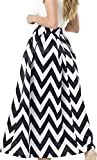 NINEWE Women's White Contrast Polka Dot Print Maxi Skirt (4, Blackwave)